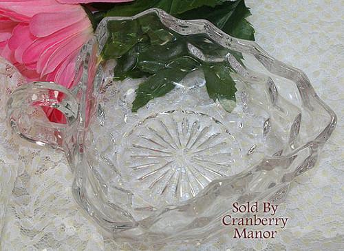 Fostoria American Nappy Glass Bowl 3 Cornered Heart Shaped Dish Vintage Mid Century 1950s American Designer Cubist Gift