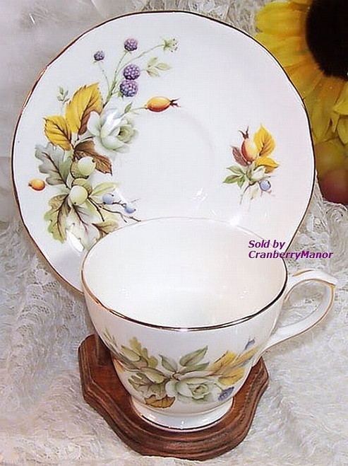 Yellow Rose Berry Tea Cup & Saucer by Duchess China from England Vintage Mid Century 1960s English Designer Gift