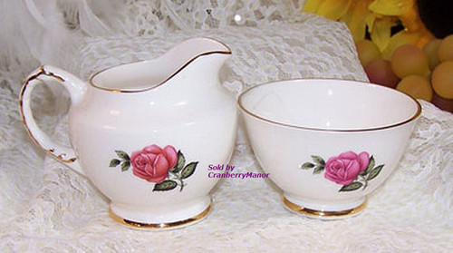 Pink Rose Cream & Sugar Set by Delphine China from England Vintage 1930s English Designer Gift