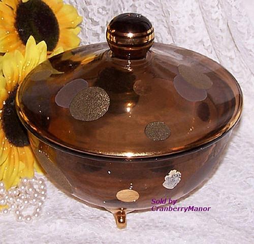 Retro Silver & Gold Polka Dot Glass Bowl from Tuscany Italy Handmade Dish Vintage Mid Century 1950s Italian Designer Gift