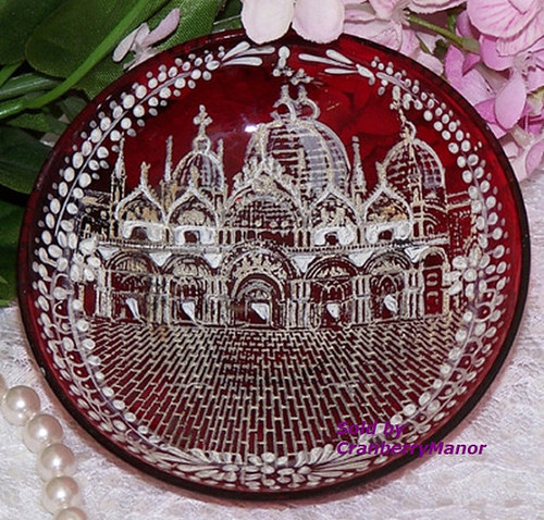 St Sophia Cathedral Kiev Russia Souvenir Cranberry Red Glass White Enamel Dish Bohemian Czech Russian Orthodox Church Vintage 1930s Gift
