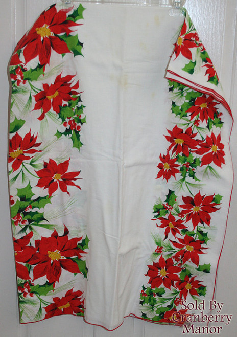 Christmas Poinsettia Tablecloth with Red Piping Vintage Linens