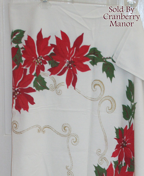 Christmas Poinsettia Tablecloth w/ Gold Metallic Accents Vintage 1960s Linens