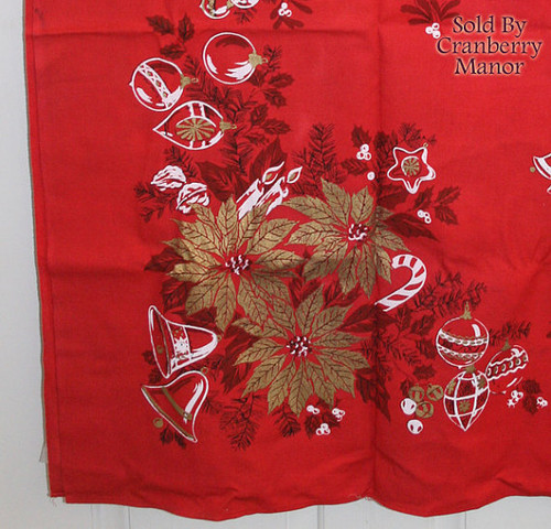 Parisian Prints Christmas Red & Gold Poinsettia Tablecloth Vintage Mid Century 1950s Designer Linens Gift