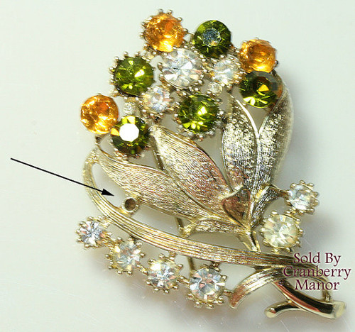 Coro Rhinestone Fall Autumn Brooch Vintage Mi Century 1960s Designer Fashion Jewelry Gift AS IS