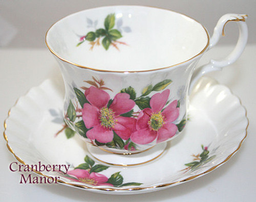 Royal Albert Prairie Rose Pink Tea Cup & Saucer from England Vintage 1980s English Fine Bone China Designer Gift