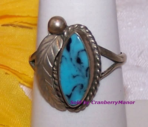 Sterling Silver & Turquoise Ring Vintage 1980s Fashion Jewelry Gift