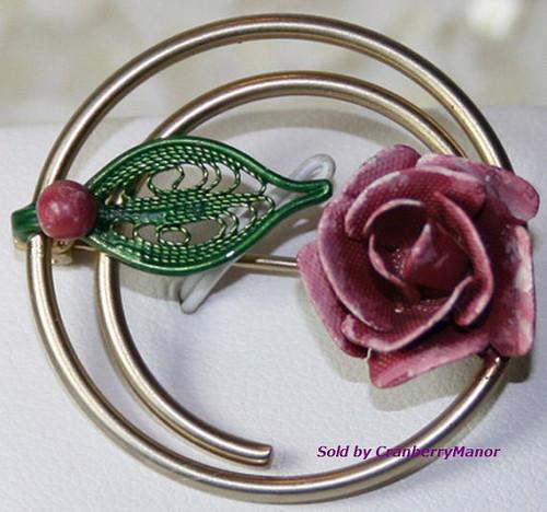 Enameled Rose & Filigree Brooch Vintage Fashion Jewelry Gift
