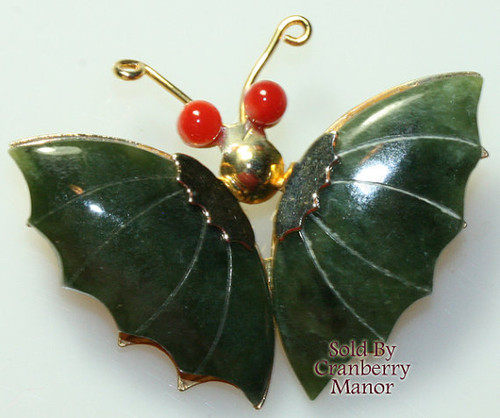 Carved Jade & Coral Butterfly Brooch Vintage Fashion Jewelry Gift