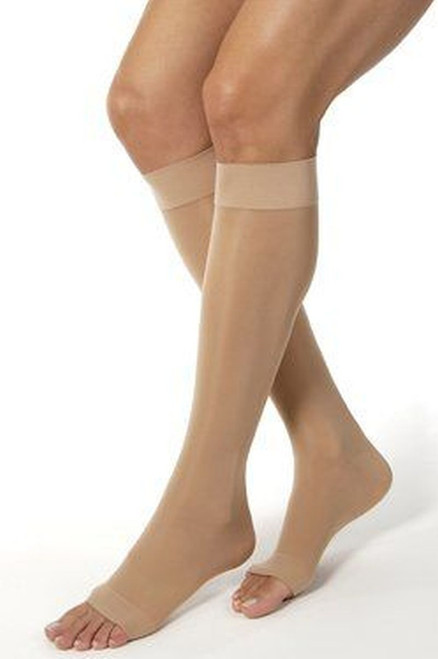 Knee High w/ Grip Top Firm Compression 20-30Mmhg Open Toe Style A2118B XL Beige