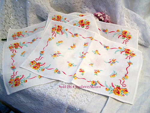 4 Pansy Springtime Flower Place Mats Linens Vintage Mid Century 1950s Gift