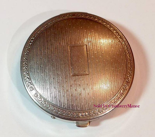 Richard Hudnut Paris New York Deauville Compact with Puff & Mirror Vintage 1920s Vanity Accessory