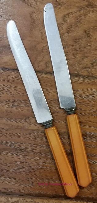 Lot of 2 Peerless Stainless Steel Butterscotch Carved Handle Knives, Vintage Bakelite Flatware