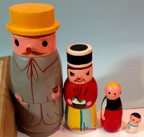 Wooden Family Nest Dolls by Shackman NY, Made in Japan, Vintage Mid Century 1960s Novelty Toy Gift, Original Box
