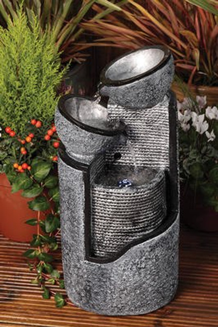 Liberty Stone Pillar And Bowls Water Feature