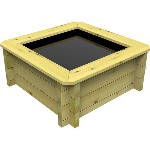 1m x 1m Square Wooden Fish Pond (27mm Wood, 42cm Height)