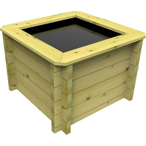 1m x 1m Square Wooden Fish Pond (44mm Wood, 80cm Height)