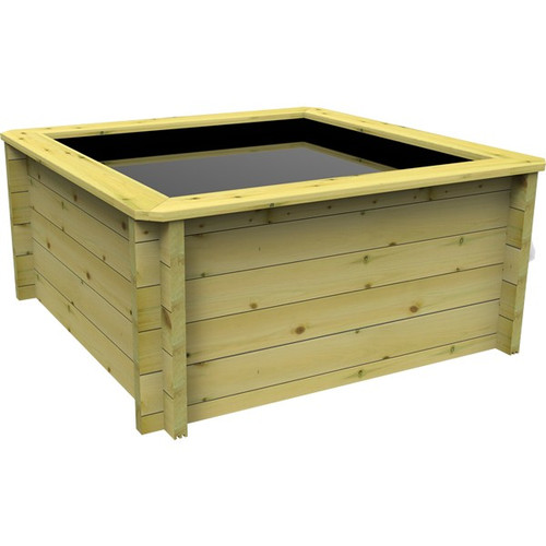 1.5m x 1.5m Square Wooden Fish Pond (44mm Wood, 80cm Height)
