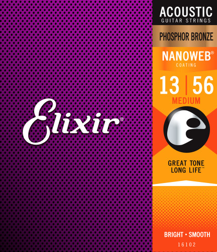 Elixir Acoustic Guitar Strings Medium Nanoweb 13-56 Phosphor Bronze