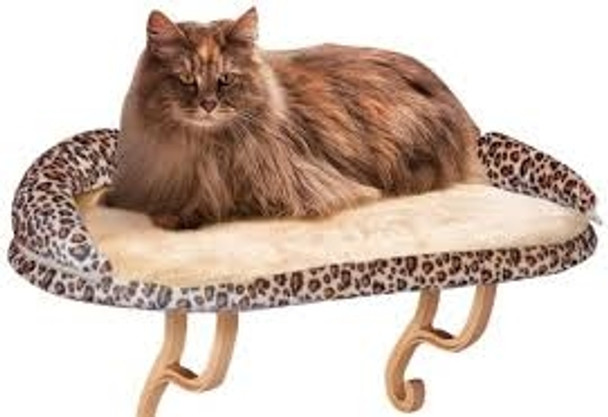 """DELUXE KITTY SILL WITH BOLSTER LEOPARD 14"""" x 24"""""""