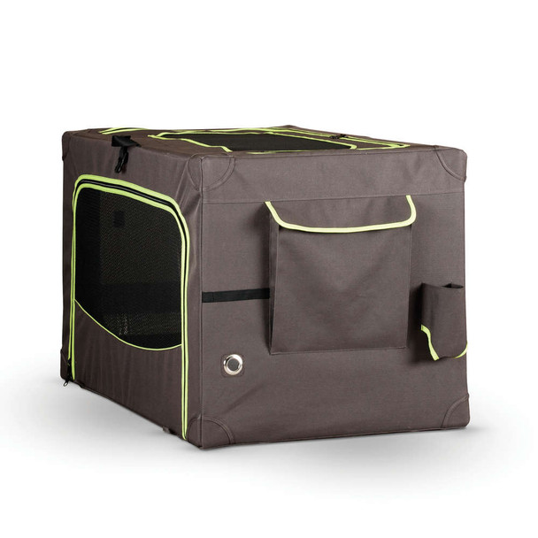 """CLASSY GO SOFT CRATE MEDIUM BROWN/LIME GREEN 20"""" x 30"""""""