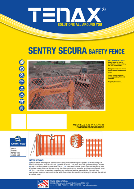 "Tenax Sentry Secura Safety Fence Mesh Size 1.46"" x 1.46"""