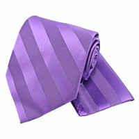 Boys Tone on Tone Stripe Tie & Hanky Set #401 - Grape