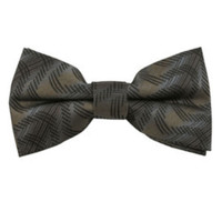Brown & Gray Variegated Pattern Clip On Bow Tie