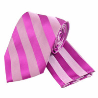 Boys Tone on Tone Stripe Tie & Hanky Set #401 - Dark Rose