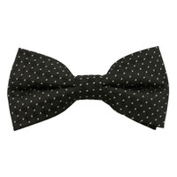 Black with Silver Dot Pattern Band Bow Tie