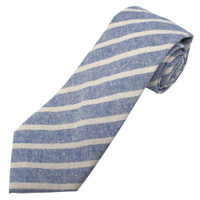 Denim Emery Variegated Stripe Linen-Cotton Tie
