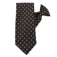 Brown Circles Pattern Clip on Tie