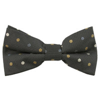 Black Multi Color Dots Pattern Clip on Bow Tie