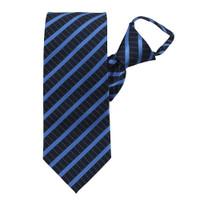 Blue Stately Stripes Zipper Tie