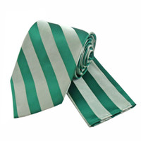 Boys Tone on Tone Stripe Tie & Hanky Set #401 - Emerald