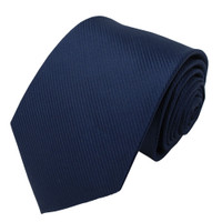 Navy Solid Color Silk Ribbed Tie