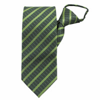 Lime Stately Stripes Zipper Tie