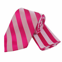 Boys Tone on Tone Stripe Tie & Hanky Set #401 - Fuschia