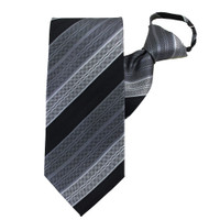 Black Rainbow Stripe Zipper Tie