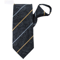 Grey Paisley Stripe Zipper Tie