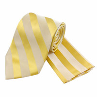 Boys Tone on Tone Stripe Tie & Hanky Set #401 - Champagne