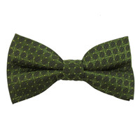 Boys Olive Green Tone on Tone Pattern Band Bow Tie