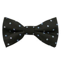 Black with Blue Square Pattern Band Bow Tie