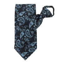 Blue Paisley Beauty Zipper Tie