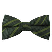 Green Stripe Pattern Clip On Bow Tie