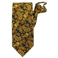 Gold Paisley Beauty Zipper Tie