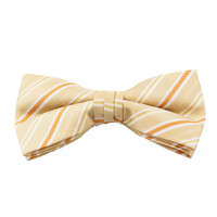 Beige Stripe Clip On Bow Tie