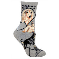 Men's Afghan Hound on Gray Socks