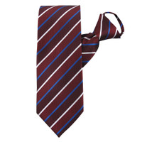 Burgundy Honor Stripe Zipper Tie