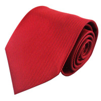 Red Solid Color Silk Ribbed Tie